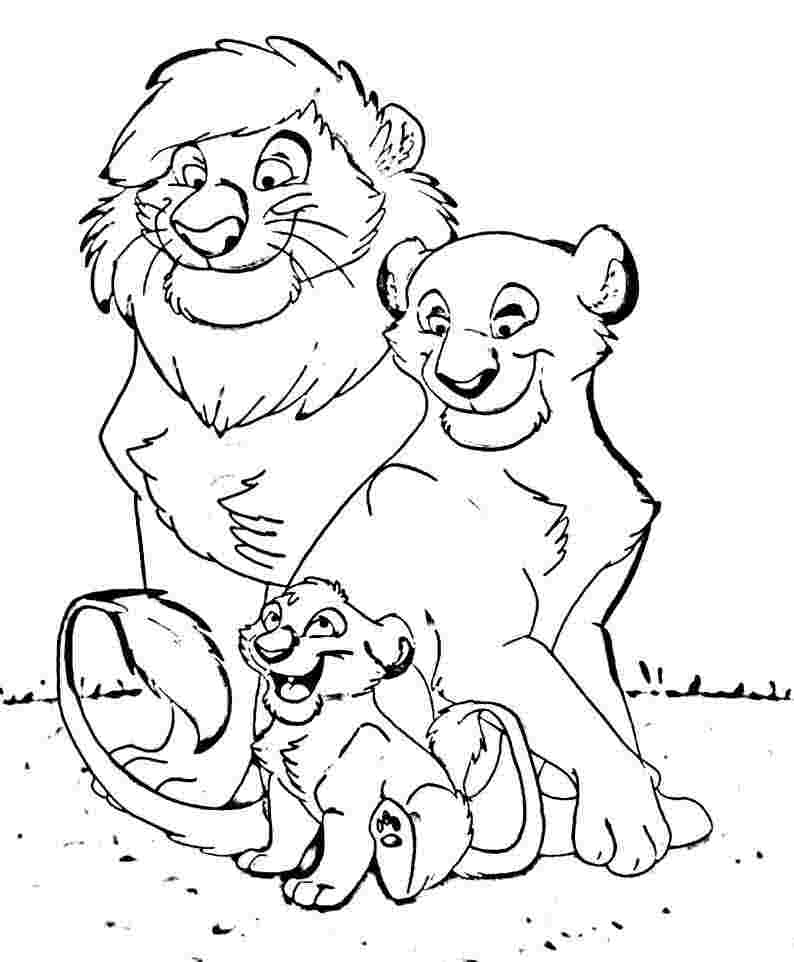 Animal Family Coloring Page AZ