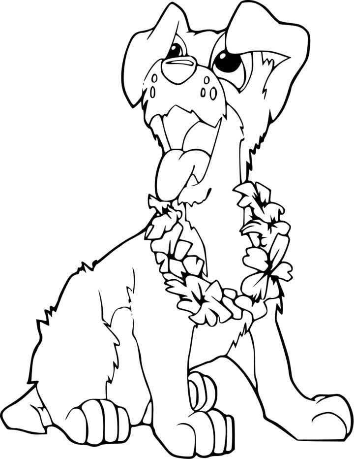 Cute Puppy Coloring Page for Kids - Free Printable Picture