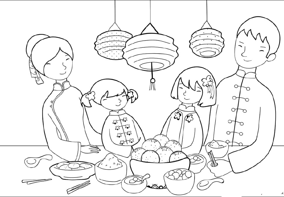 chinese new year color pages az coloring pages Coloring Chinese Cooking  Chinese Food Coloring