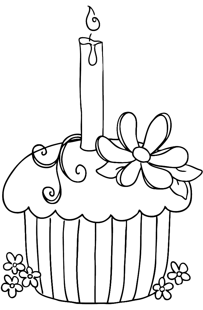 Birthday Cupcake Coloring Page Az Coloring Pages Coloring Pages Of Cupcakes