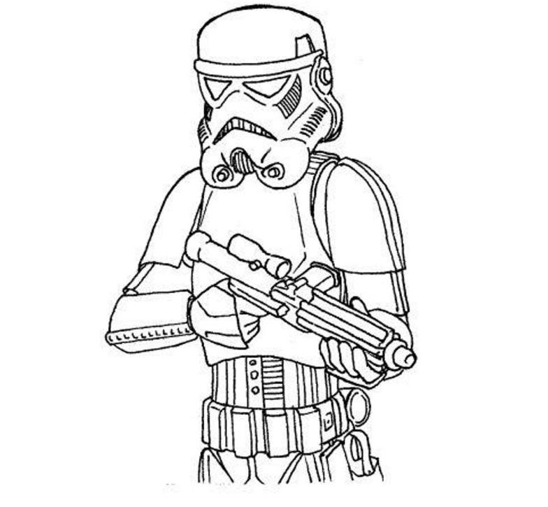 Print Easy Stormtrooper Star Wars Coloring Pages or Download Easy
