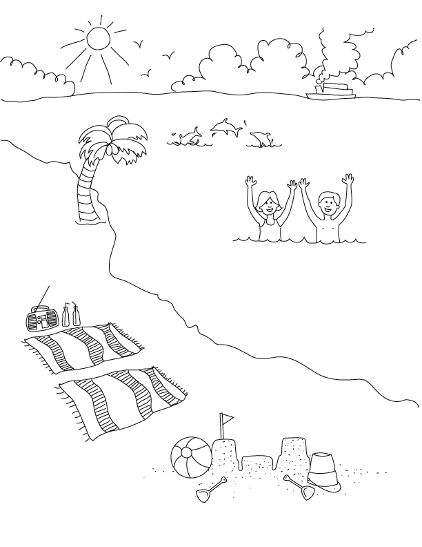 Beach Scene Coloring Pages Kids | The Coloring Pages - Coloring Home