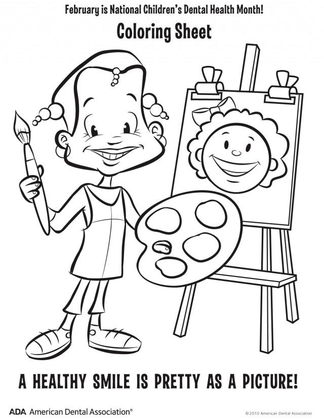 February is children 39 s dental health month columbus oh for Dental health month coloring pages