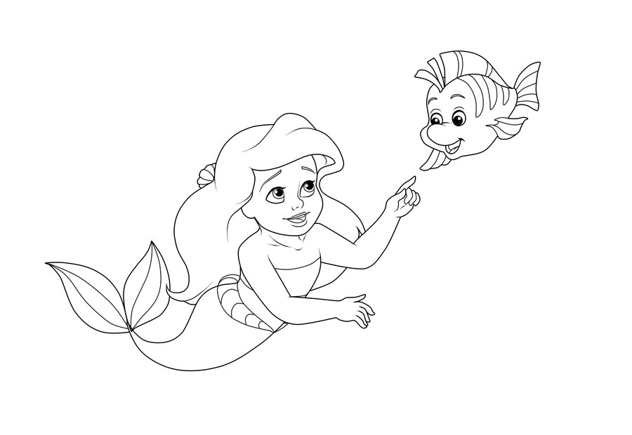 Young Rapunzel Coloring Pages Flounder - Coloring Page