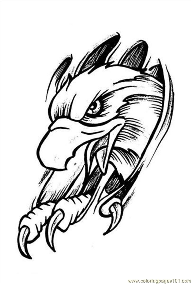 Coloring Pages Eagles Tattoo Design Prev 4 Eagle Free Printable