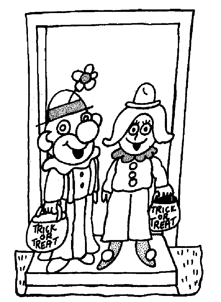 Clown Coloring Pages Pdf : Two halloween clowns of coloring pages free