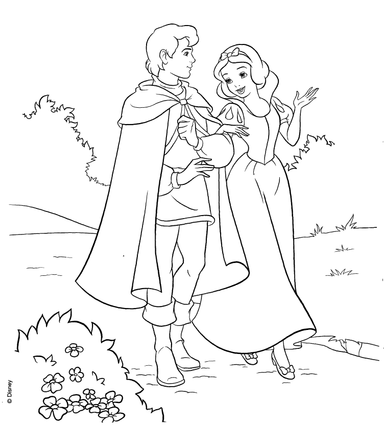 Disney Princesses - snow white colouring pages