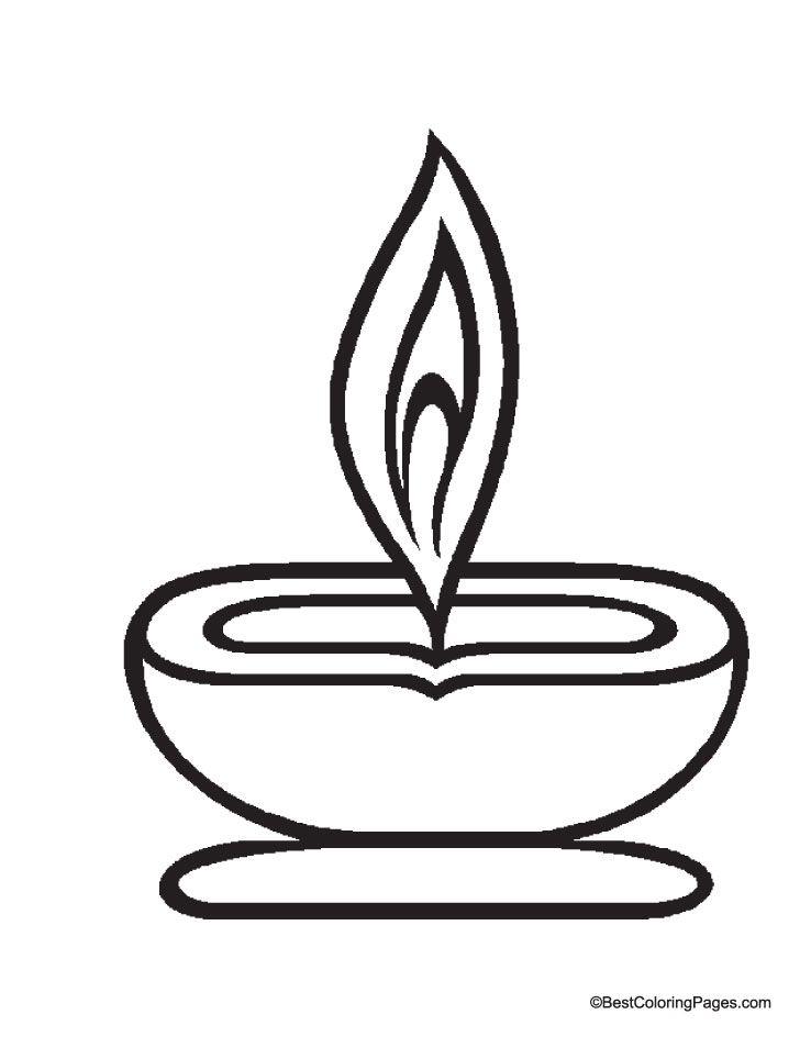 Diwali Deepak Vector Black And White