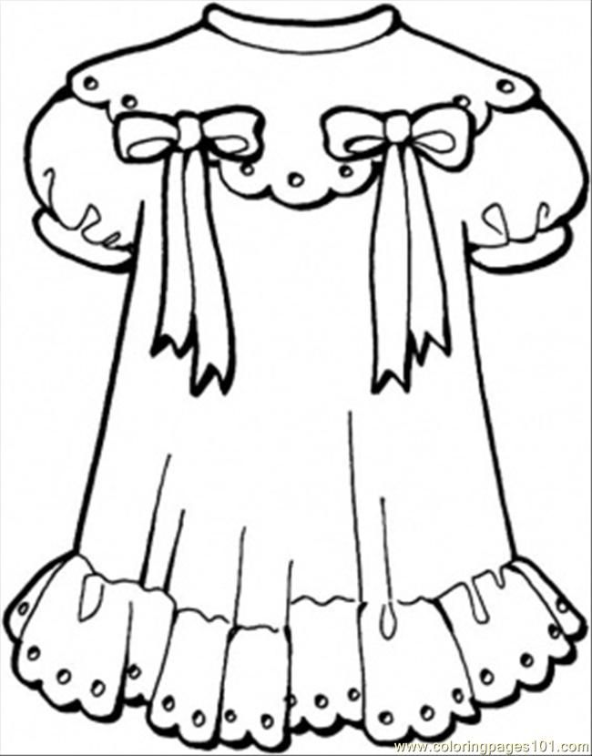 Coloring pages dresses coloring home for Clothing coloring page