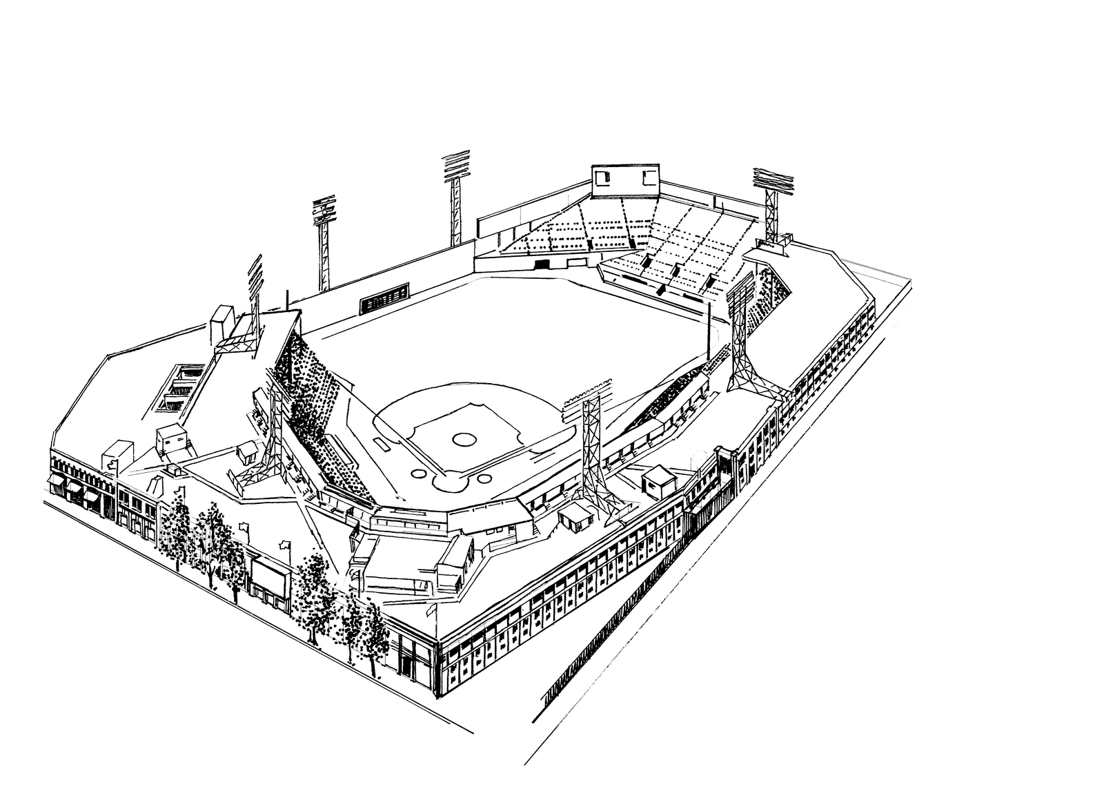 Fenway park boston red sox stadium coloring page