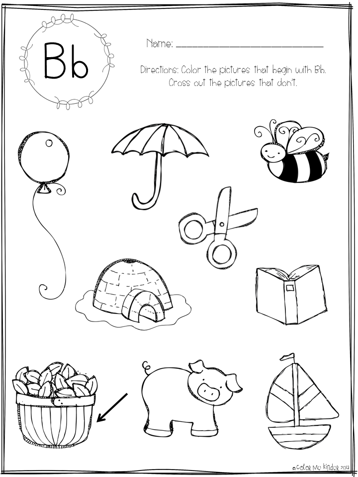 Alphabet Sounds Coloring Pages : Color me kinder beginning sounds printable pack giveaway