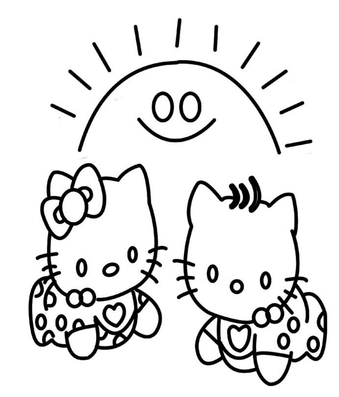 Hello Baby Drawings Print Cute Baby Hello Kitty