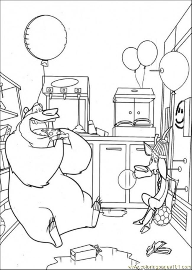 coloring pages boog and elliot in the kitchen cartoons open - Open Season Coloring Pages