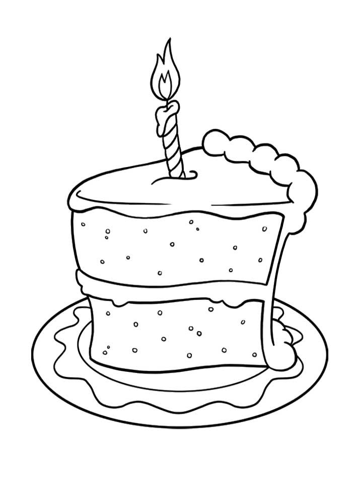 Pictures Slice Of Cake Birthday Coloring Pages - Cookie Coloring