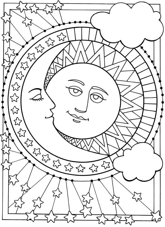 Sun and moon coloring pages coloring home for Half moon coloring pages