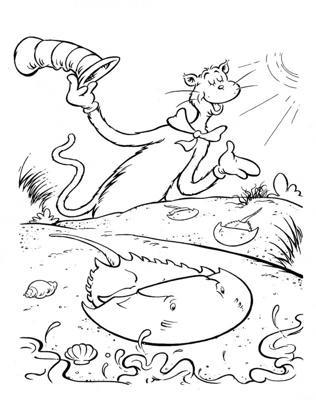 cat in the hat coloring page az coloring pages