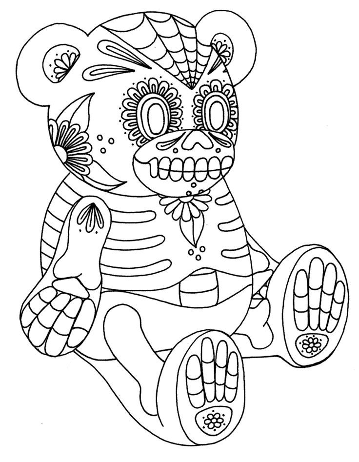 Day of the Dead Sugar Skull Coloring Pages | Coloriage tête de ... | 947x736