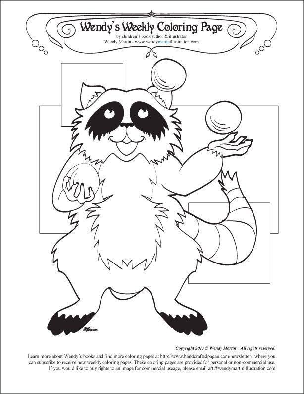 juggling balls raccoon coloring page