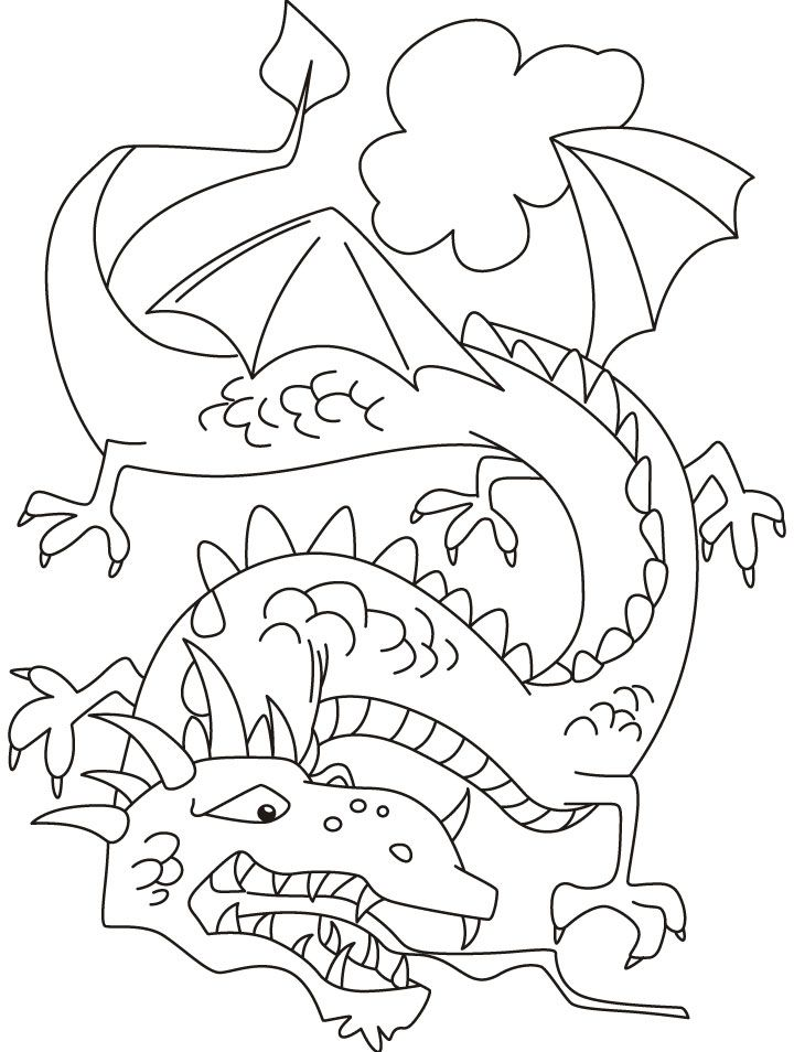 Furious dragon ready to attack on its enemy coloring pages