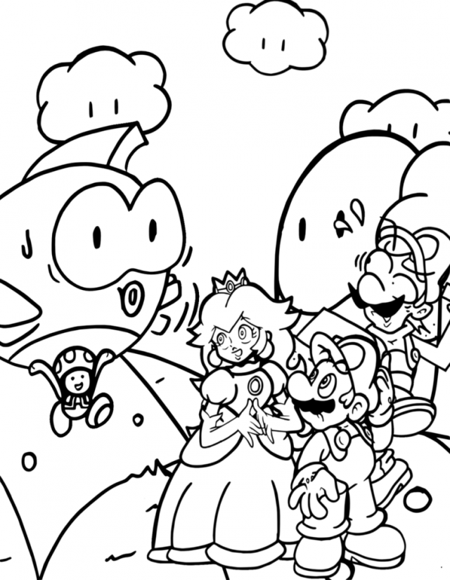 Princess Peach Coloring Pages Mario And