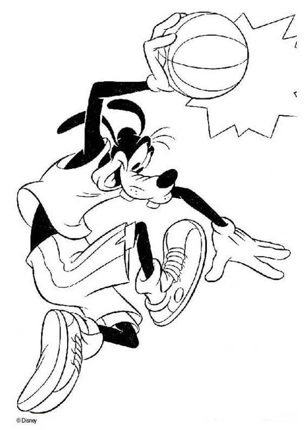 Basketball Coloring Pages Pdf : Goofy playing basketball disney club coloring pages az