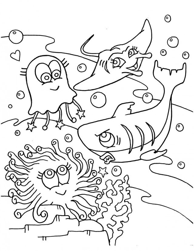 Sea life coloring page az coloring pages for Free ocean coloring pages