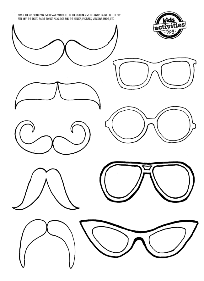 Mustache and Eye Glasses Mirror Clings - Kids Activities Blog