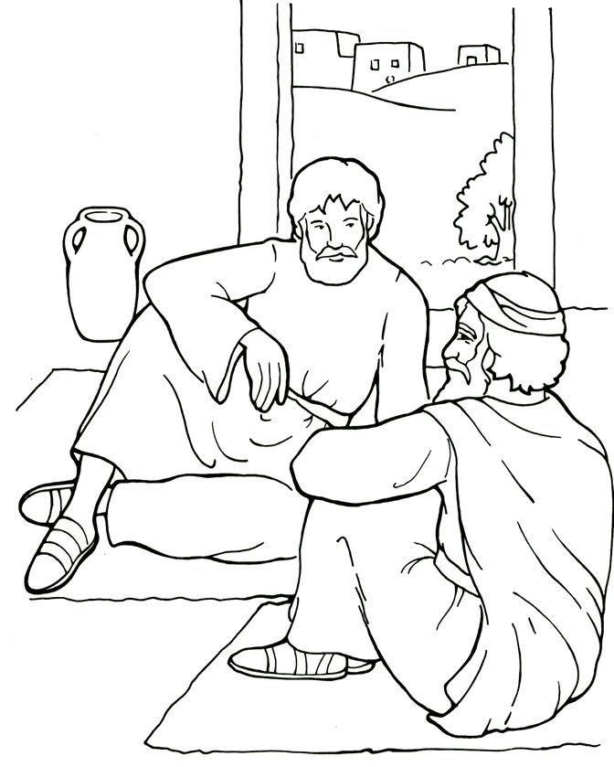 Paul and Ananias - Coloring Page | Bible crafts
