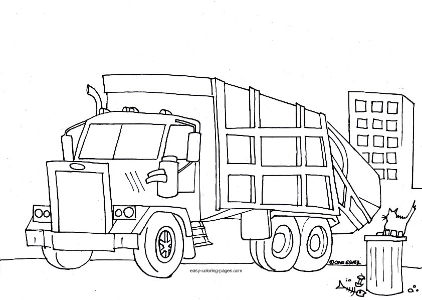 trash truck coloring pages - photo#24