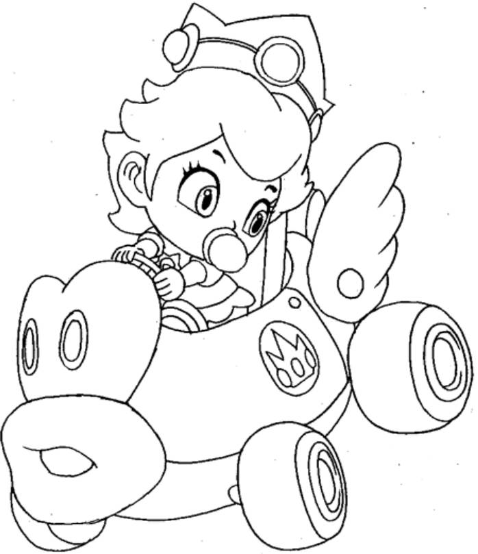 mario kart princess peach colouring pages