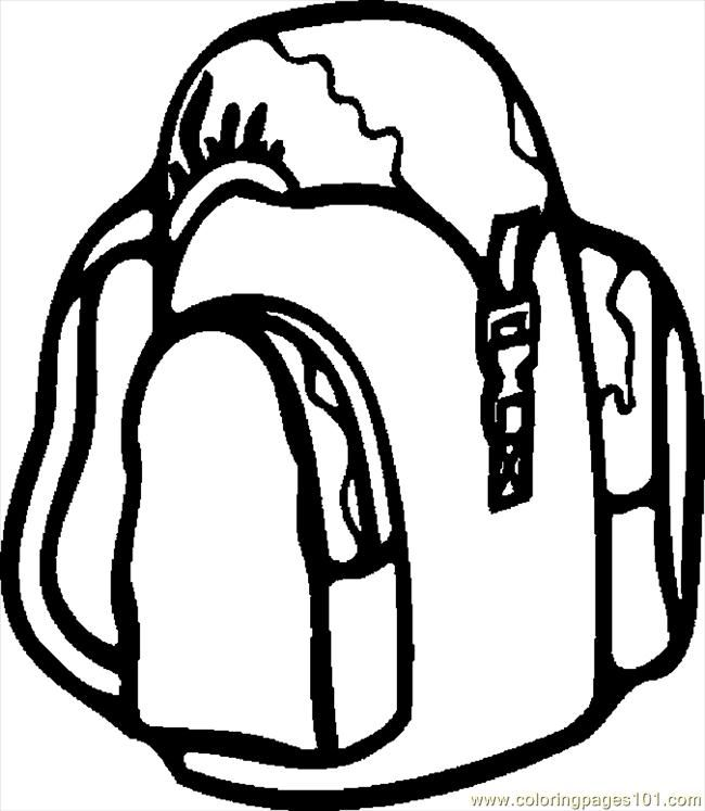 Backpack Coloring: Backpack Coloring Page Sketch Coloring Page