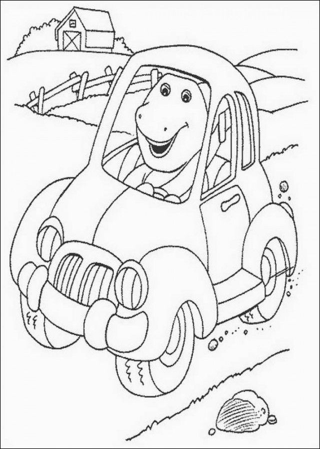 barney in car printable coloring pages extra coloring page 153982