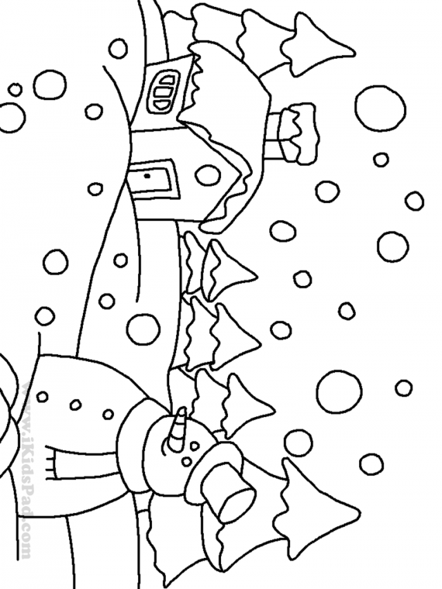Winter Coloring Book Pages Building Snowman Gingerbread Man 258098
