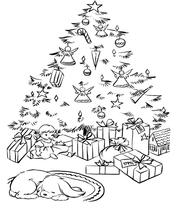 Outline Of Christmas Tree Az Coloring Pages Tree Coloring Pages With Presents
