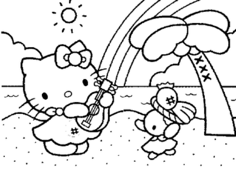 Coloring Pages of Hello Kitty Playing Music disney summer coloring