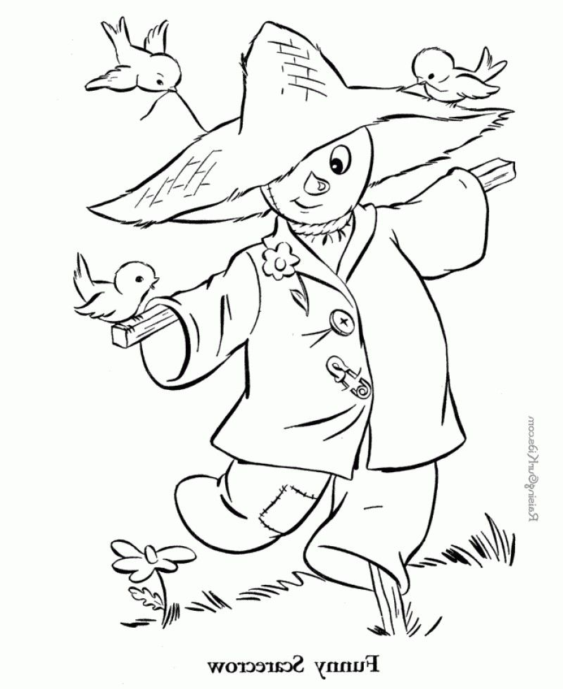 scarecrow color page - funny scarecrow coloring page kids colouring pages