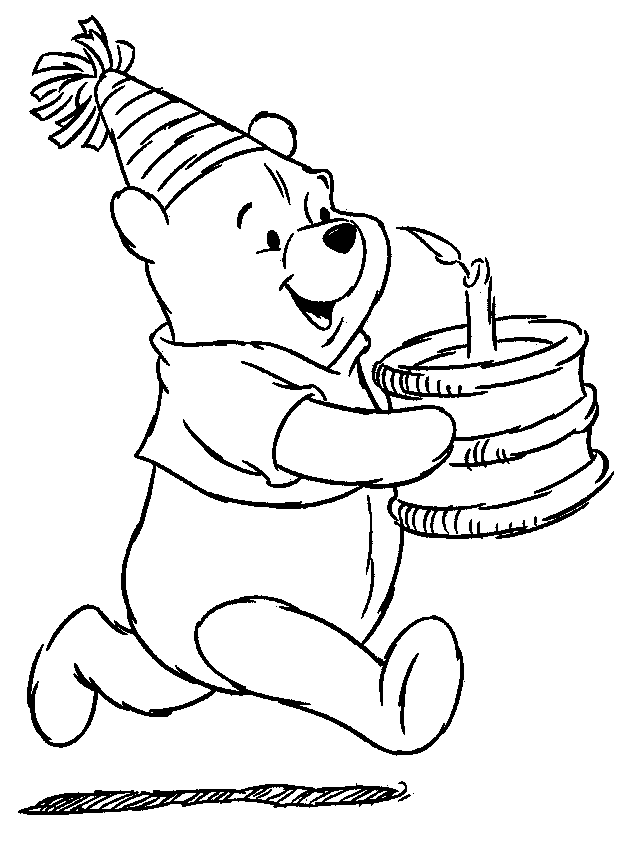 Olive Having Birthday Cake Coloring Page | Kids Coloring Page