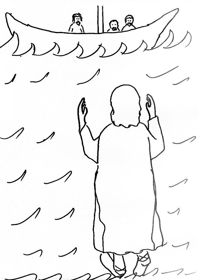 Jesus Walks On Water Coloring Page - Coloring Home