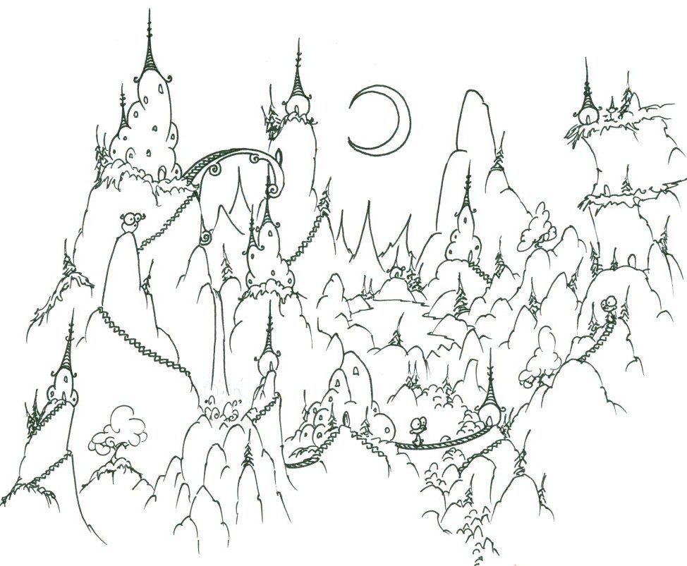 Fantasy Landscape at Night - Difficult Coloring Page for Adults