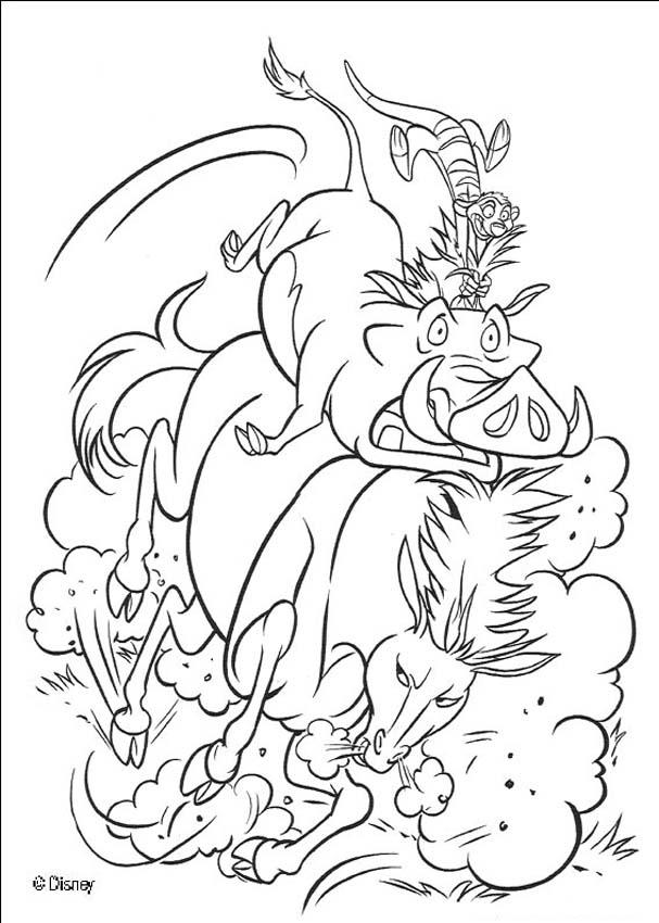 The Lion King coloring pages - Pumbaa and Timon riding a wild horse