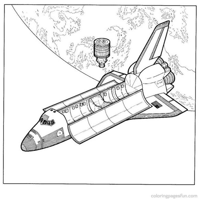 Coloring Page With Space Shuttle Stock Vector - Illustration of blast,  black: 166859648 | 800x800