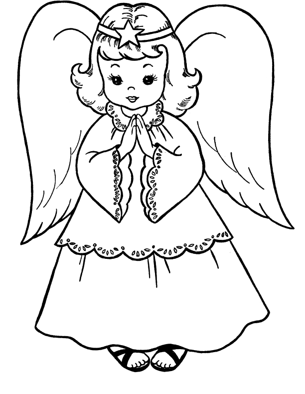 Angel In Christmas Eve Coloring Pages - Christmas Coloring Pages