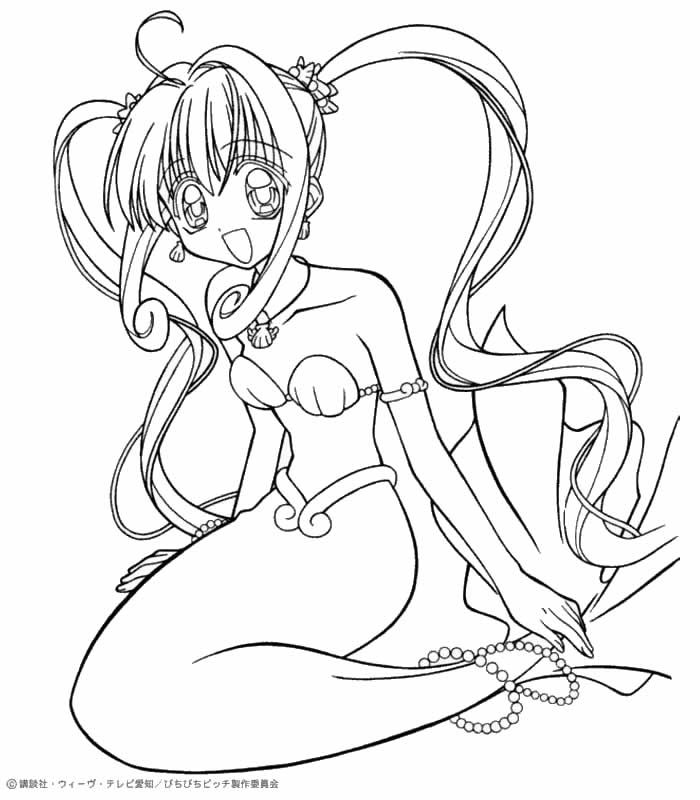 MERMAID MELODY coloring pages - Luchia the mermaid