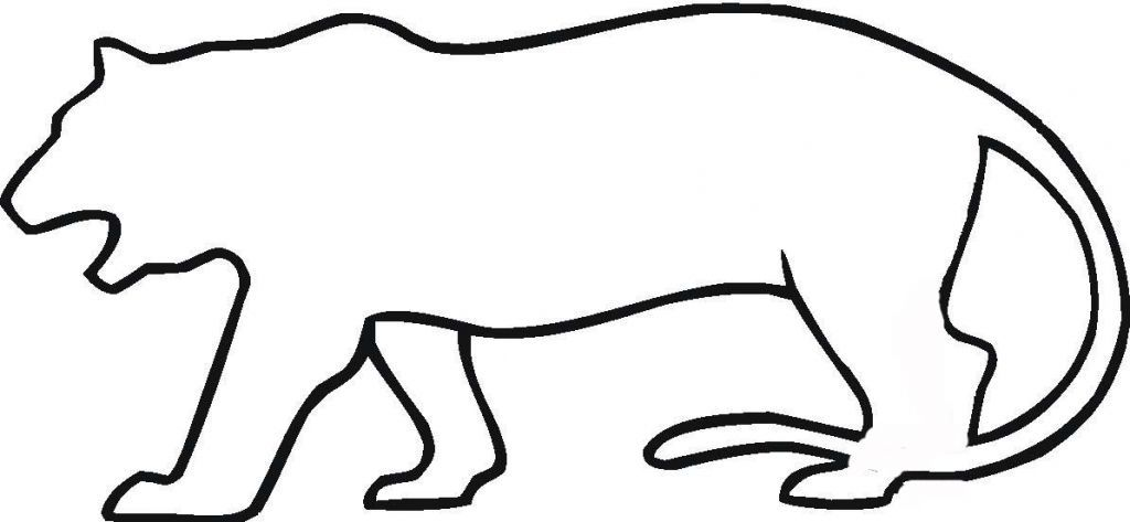 Tiger outline quoteko coloring home for Tiger without stripes coloring page