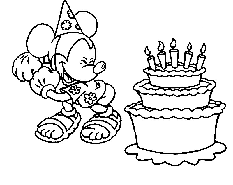 Coloring Pages Mickey Mouse Birthday : Happy birthday color page az coloring pages
