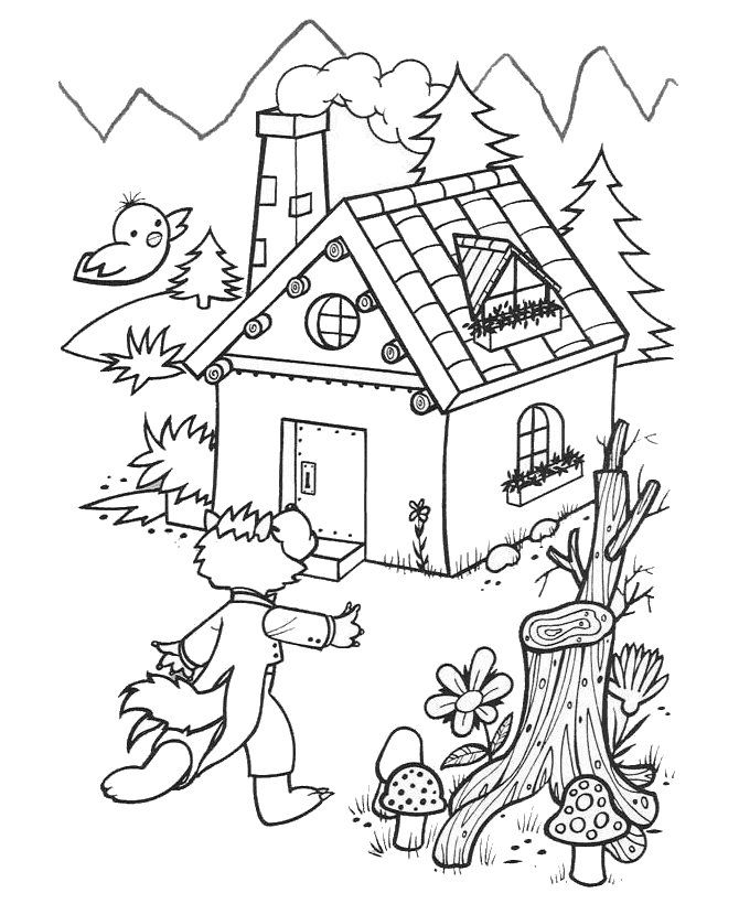 3 Little Pigs Brick House Colouring Pages - Coloring Home