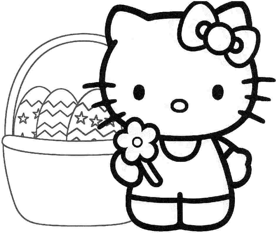 Free Colouring Pages Easter Hello Kitty For Toddler 18459#