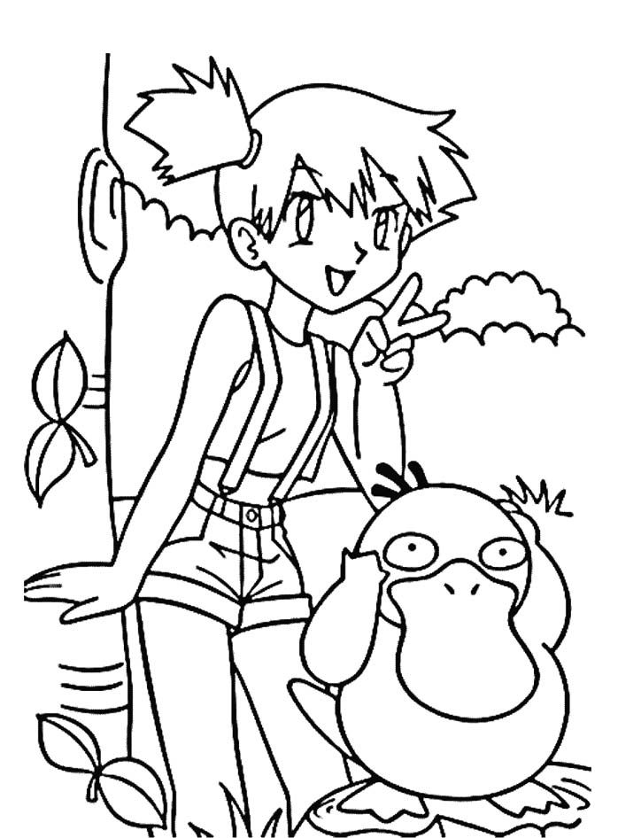 ash misty coloring pages - photo#3
