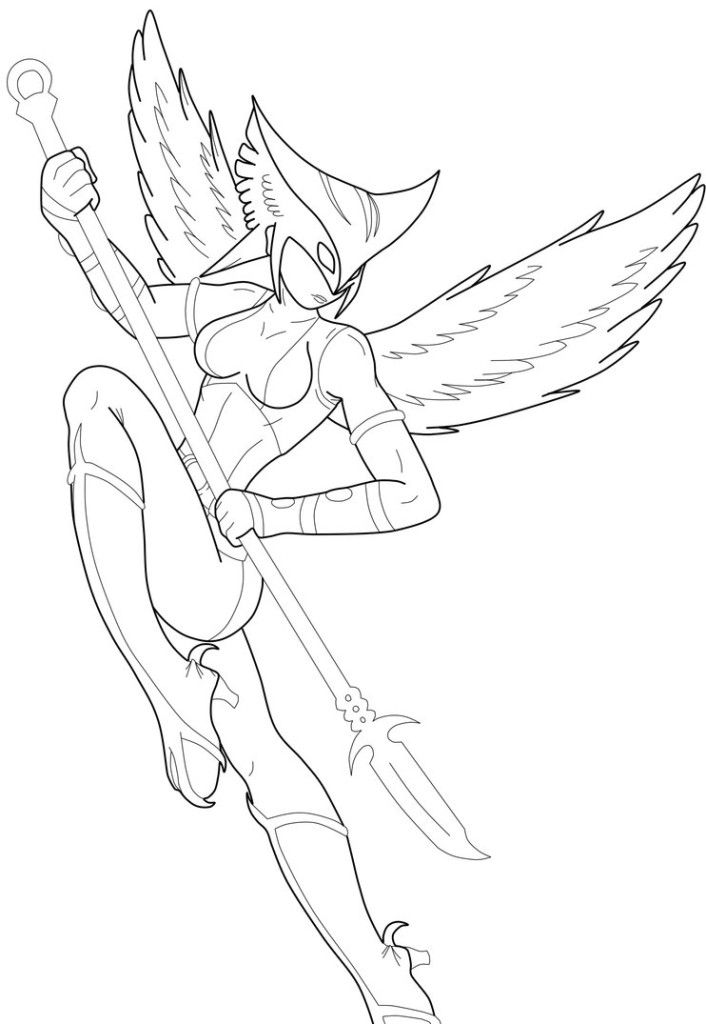 Hawk Girl Coloring Pages Coloring Home