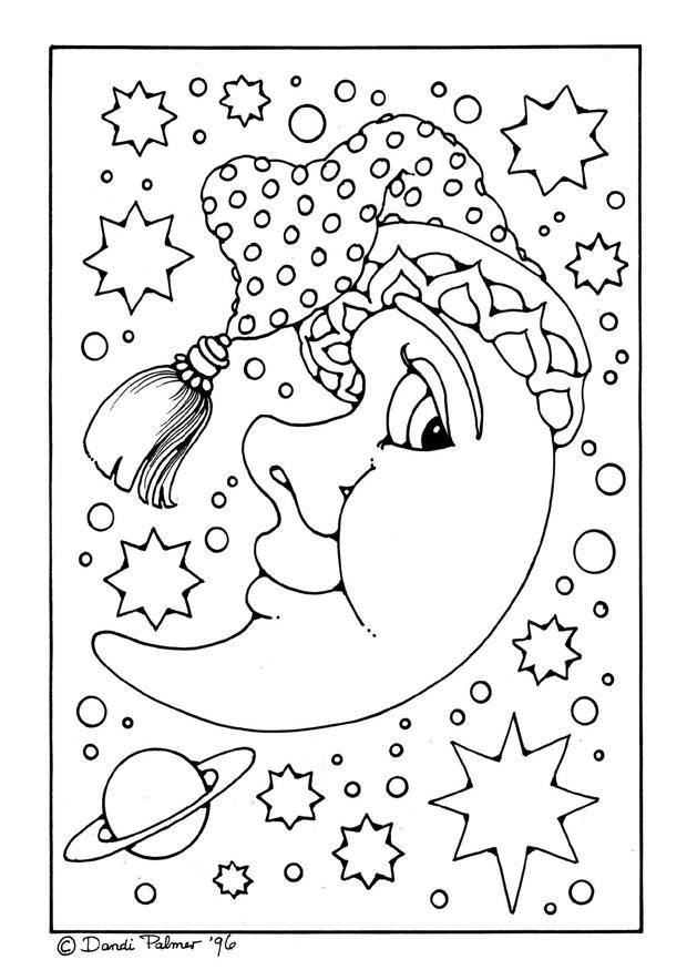 Coloring page man in the moon - img 9213.